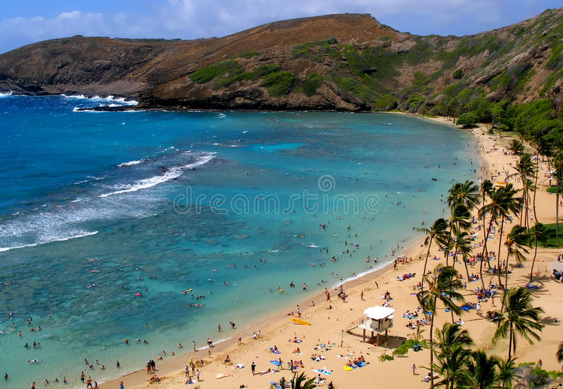 Hanauma Bay in Hawaii stock photo