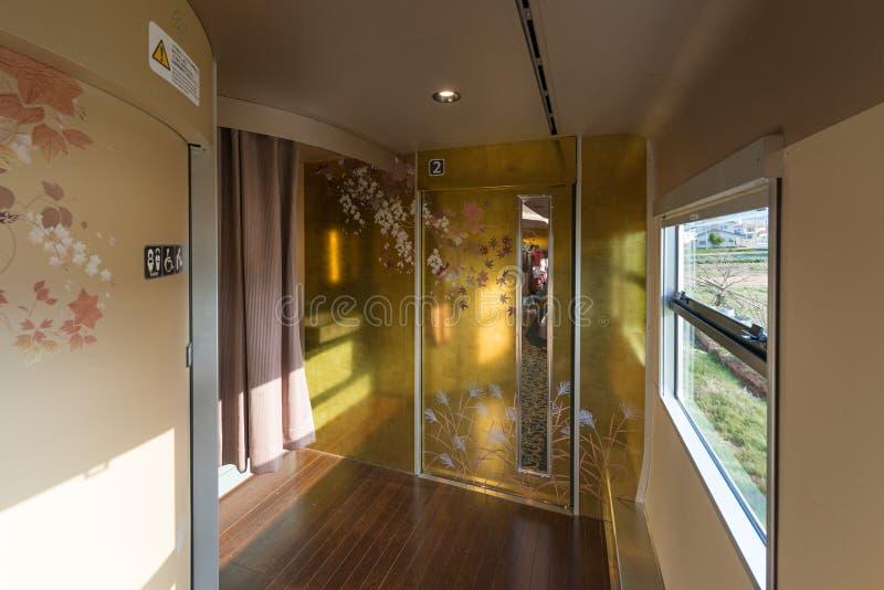 Hanayome Noren火车第2辆汽车的内部 库存照片