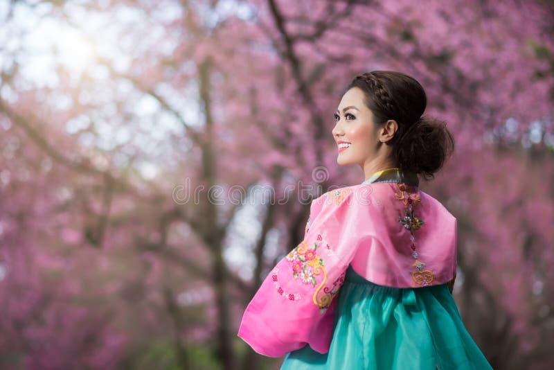 Hanbok : la robe coréenne traditionnelle et les beaux WI asiatiques de fille photographie stock