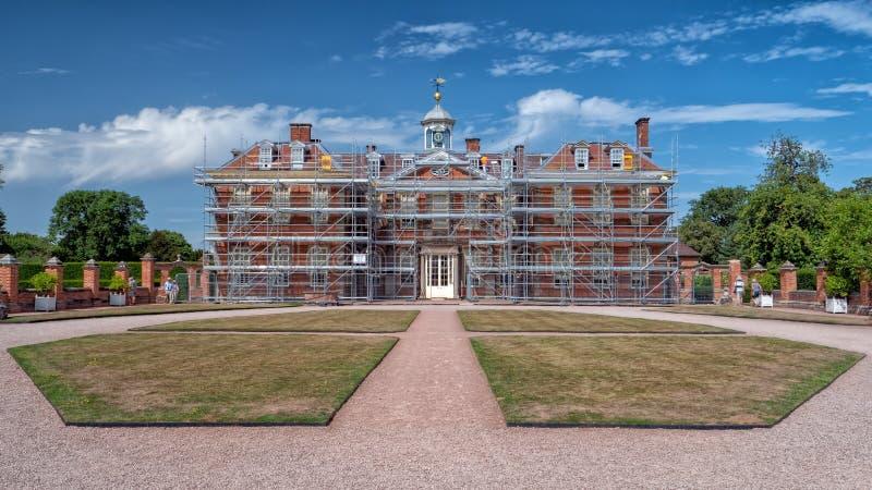 Hanbury Hall in Worcestershire unter Wiederherstellung lizenzfreie stockfotos
