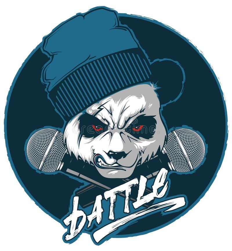 Hanche-trémie fâchée de panda et deux microphones croisés illustration stock