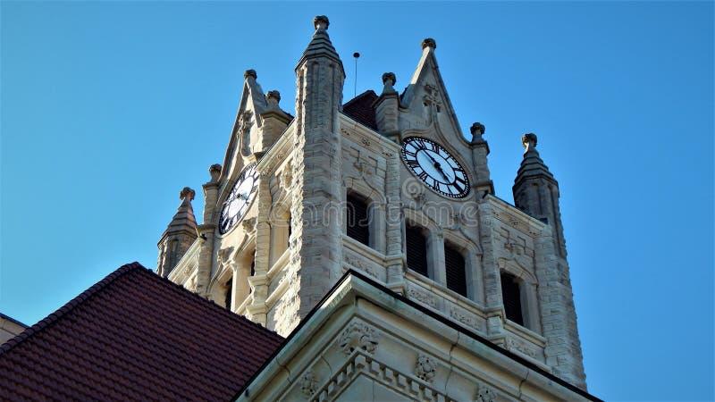 Hancock County Gericht-Greenfield 1896 Indiana Clock Tower stockbild