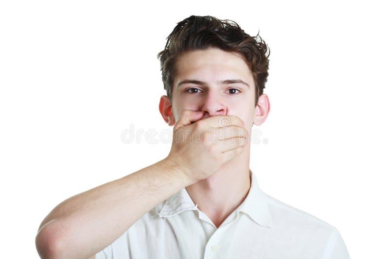 Hand över hans mun royaltyfri fotografi
