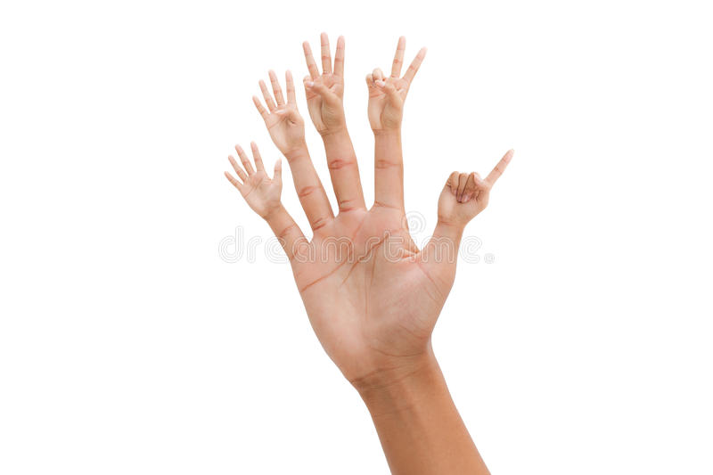 Hand with 1-5 number finger stock photography