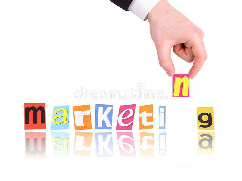 Hand. And word marketing on white background stock image