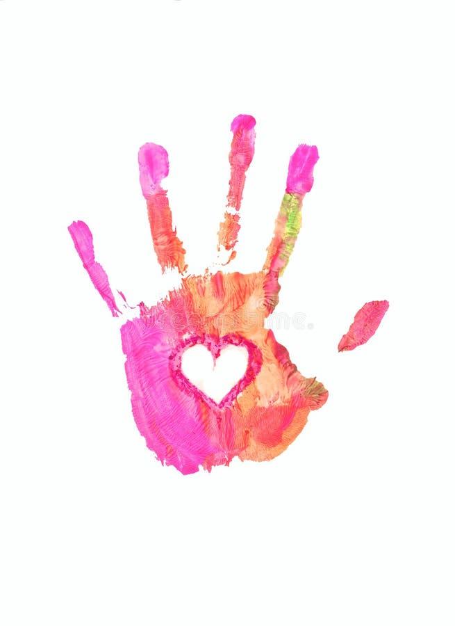 Hand. Pink handprint, handprint of love, on a white background stock illustration