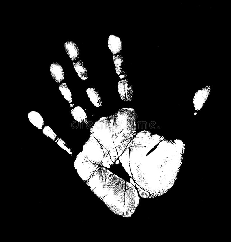 Hand. Printout of human hand with unique detail royalty free illustration