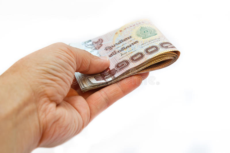 Hand aangeboden geld. royalty-vrije stock afbeelding