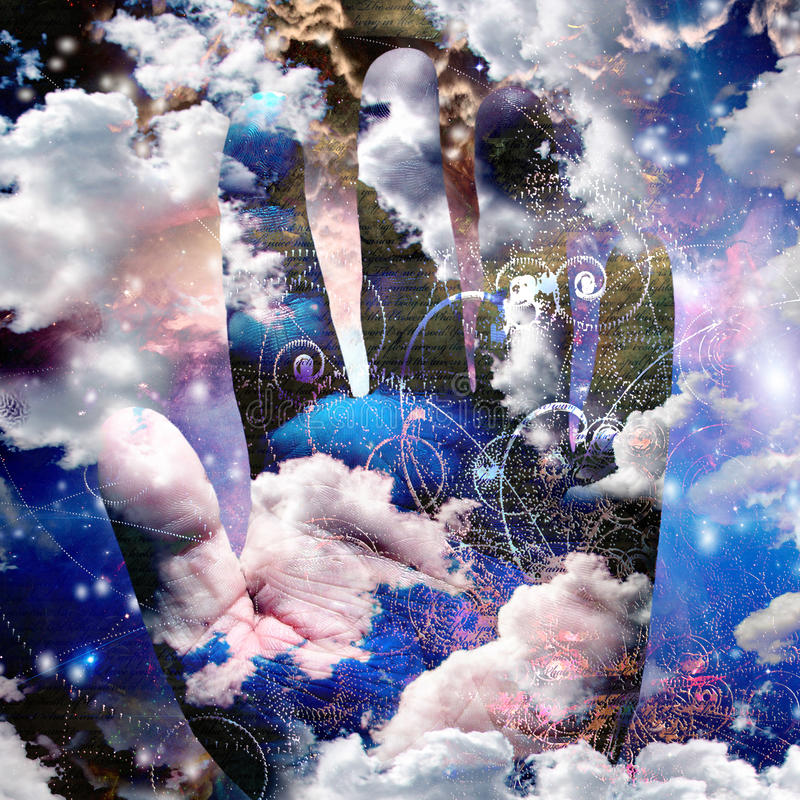 Hand abstract with clouds. And particles royalty free illustration