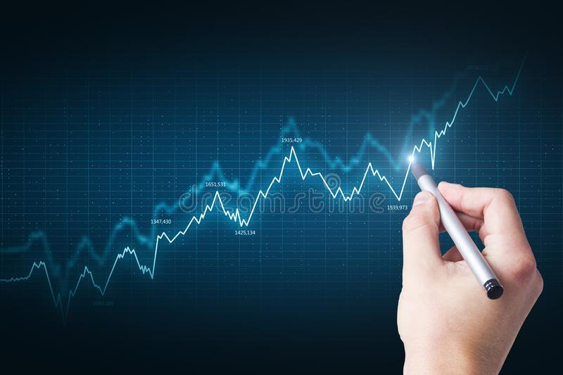 Hand with abstract forex chart. Hand using abstract glowing blue forex chart grid. Invest, touchscreen and trade concept royalty free illustration