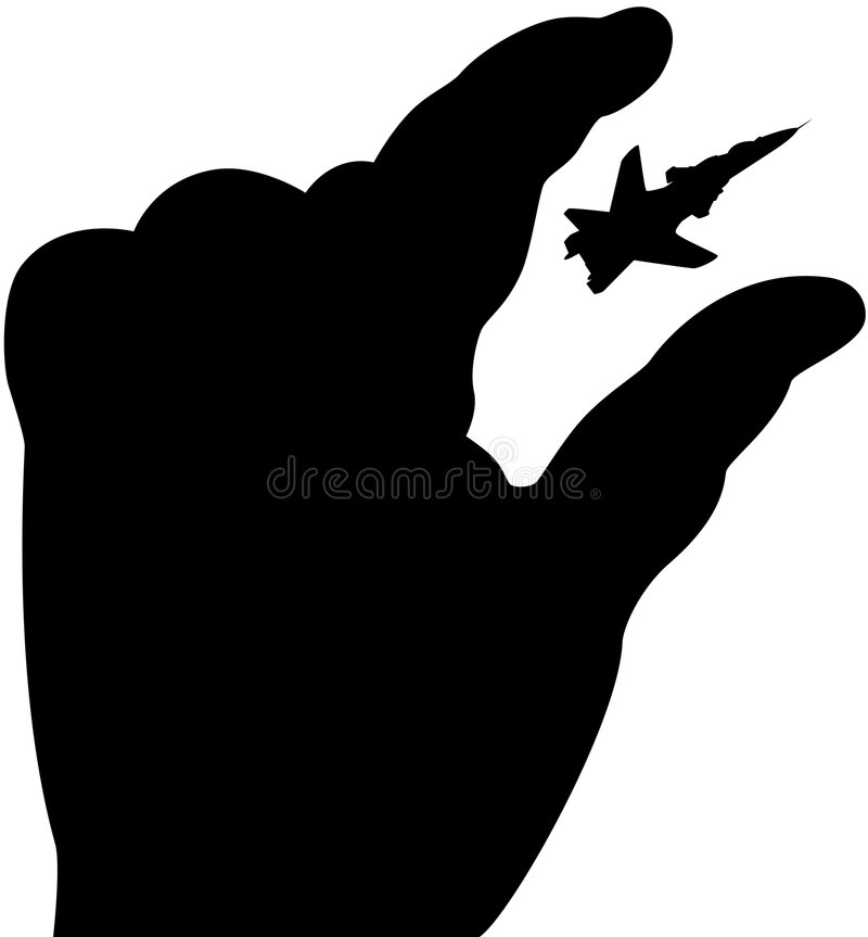 Hand with aeroplane. Vector illustration of black hand try to catch aeroplane in sky royalty free illustration