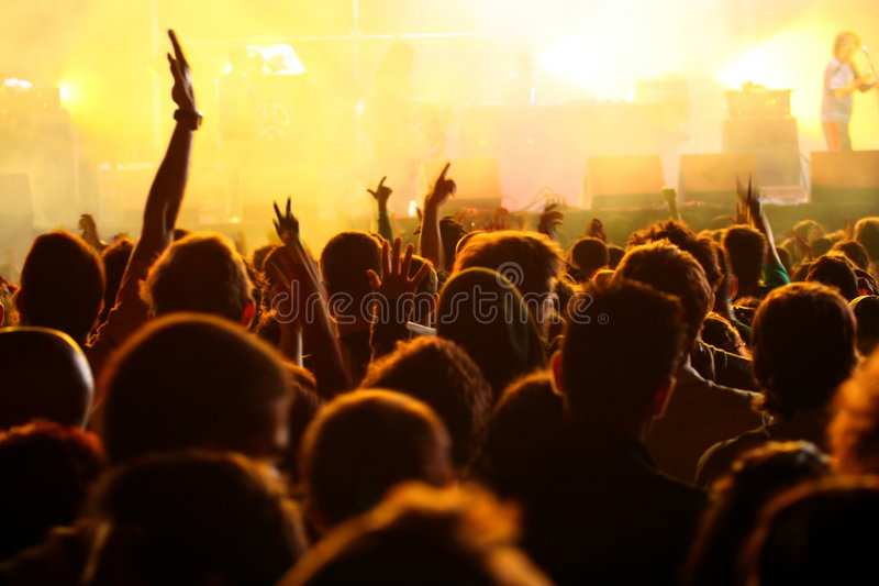 Download Hand In The Air In A Concert Stock Image - Image of back, people: 2805769