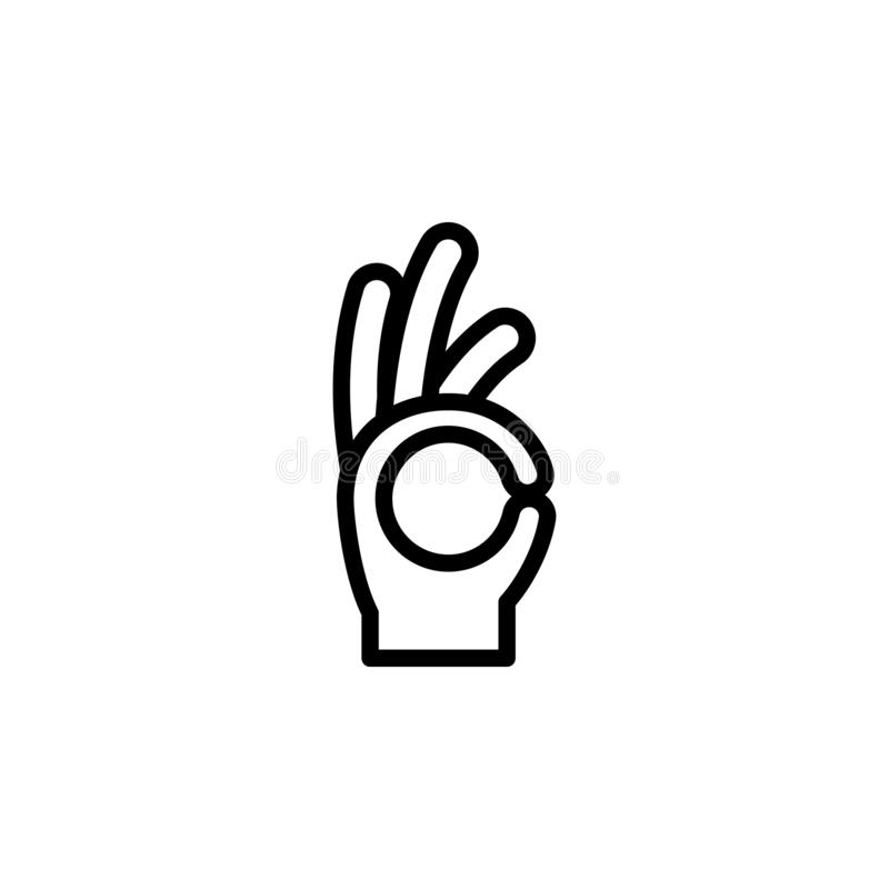 Hand all right ok sign gesture outline icon. Element of hand gesture illustration icon. signs, symbols can be used for web, logo, stock illustration