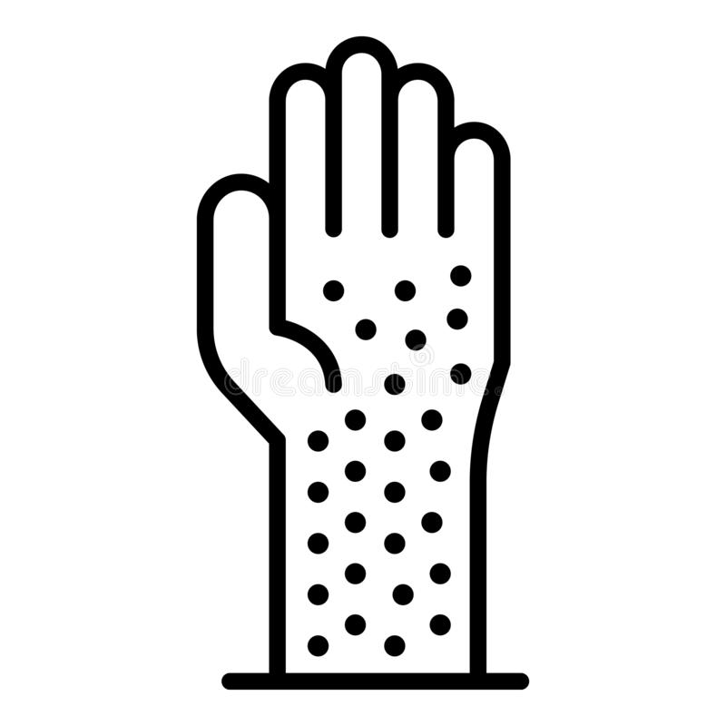 Hand allergy point icon, outline style vector illustration
