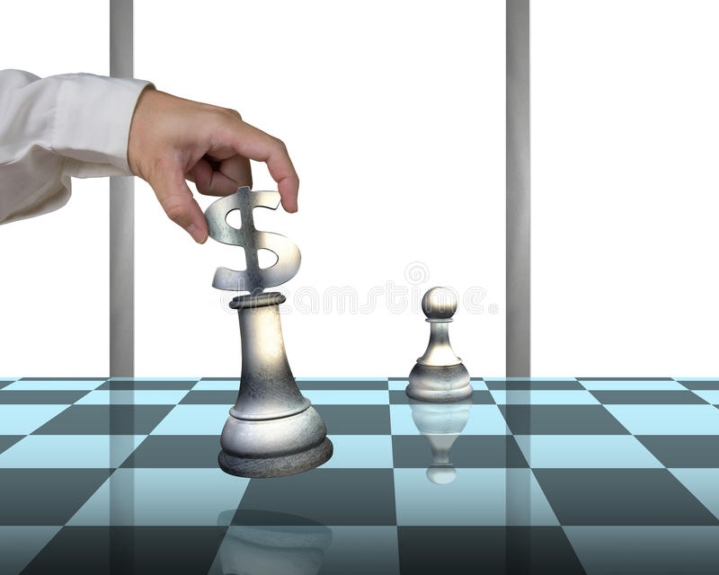 Hand alocating USD 3D symbol piece on chessboard with pawn royalty free illustration