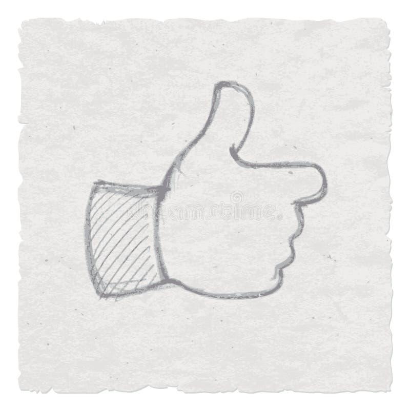 Hand als symbool, Duimen op Handtekening die wordt getrokken vector illustratie