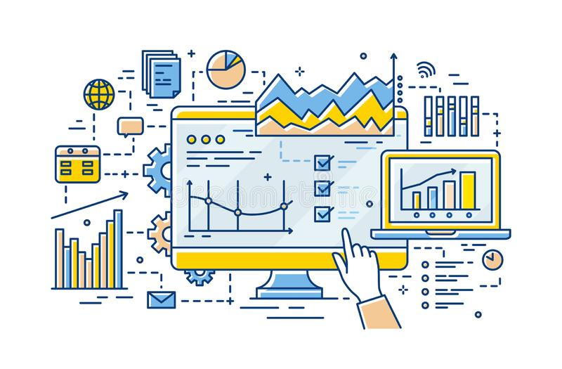 Hand of analyst pointing at computer display with results of statistical data analysis on it, diagrams, charts and. Graphs. Business analytics and statistics stock illustration