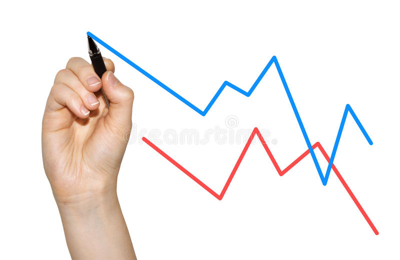 Hand analyzing market growth. Woman's hand creating a line chart for growth stock photography