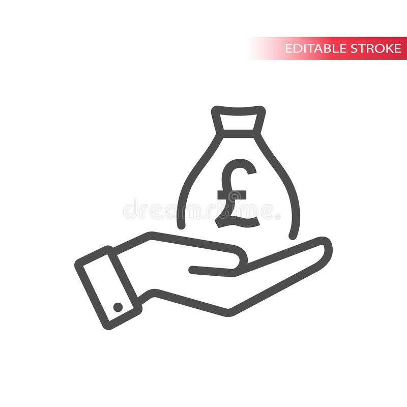 Free Hand And A Bag Of British Pounds Money. Hand And Pound Money Bag Icon. Royalty Free Stock Photos - 115009288
