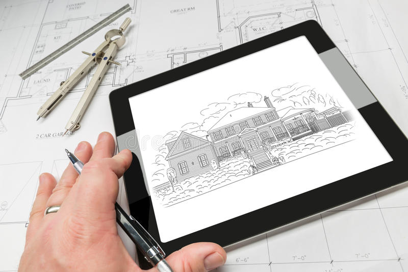 Hand of Architect on Computer Tablet Showing Home Illustration O stock images