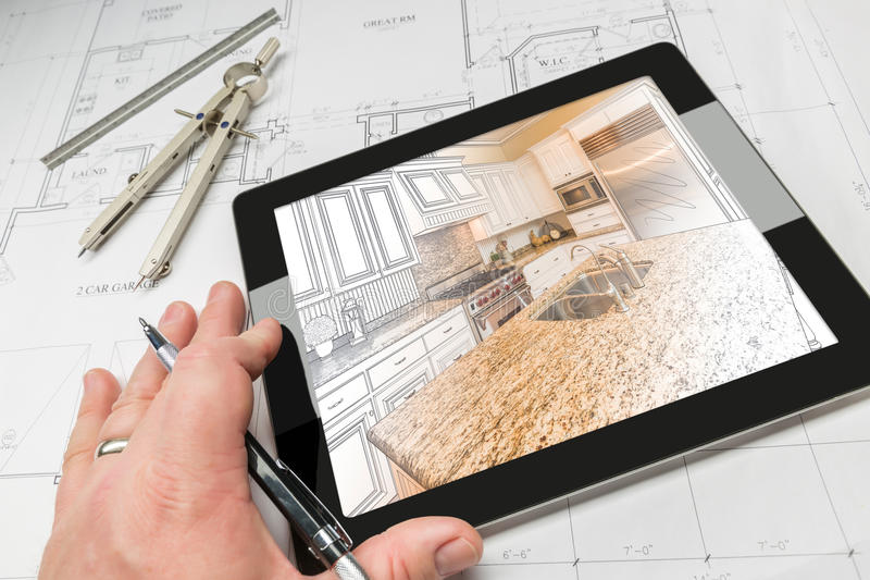 Hand of Architect on Computer Tablet Showing Kitchen Illustratio stock images