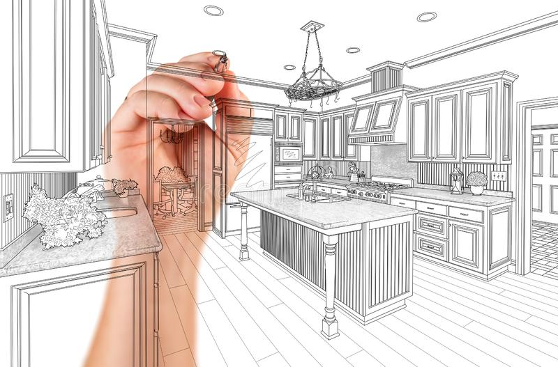 Hand of Architect Drawing Detail of Custom Kitchen Design stock photos