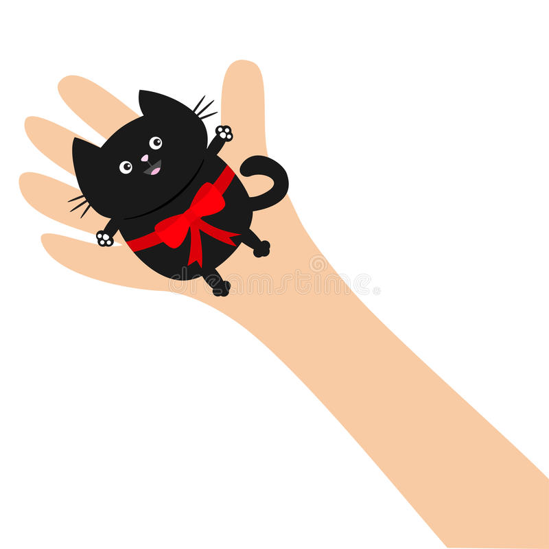 Hand arm holding black cat with red bow ribbon. Adopt animal pet. Helping hands concept. Funny gift. Cute cartoon character. Close royalty free illustration