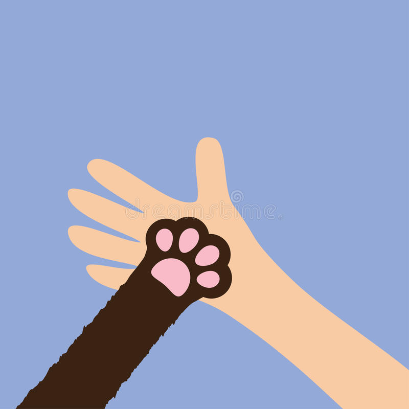 Hand arm holding cat dog paw print leg foot. Close up. Help adopt animal pet donate concept. Friends forever. Veterinarian care. stock illustration