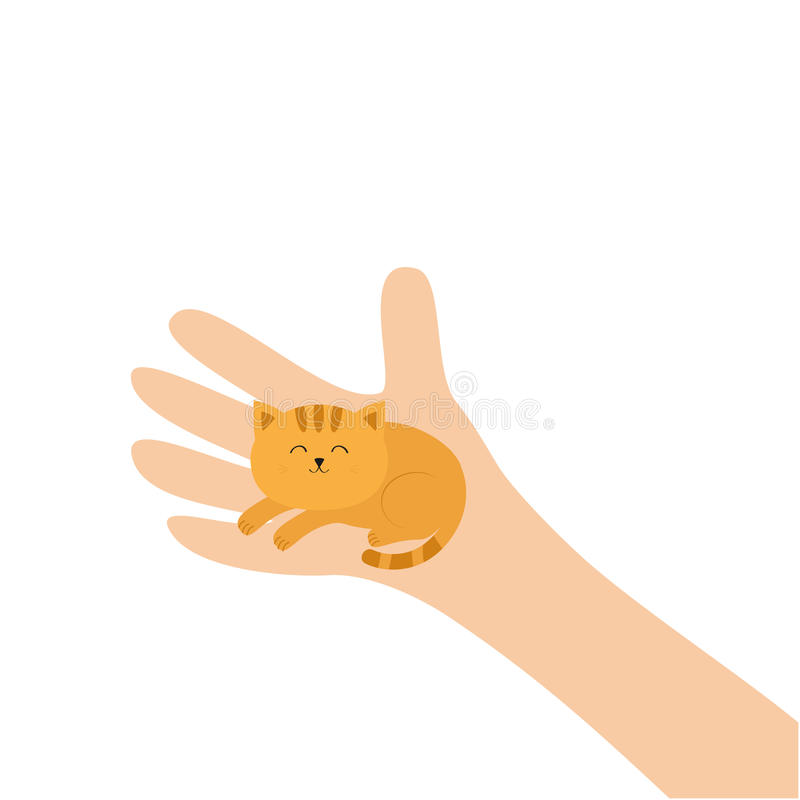 Hand arm holding orange red cat. Adopt animal pet. Helping hands concept. Funny gift. Cute cartoon character. Close up body part. royalty free illustration