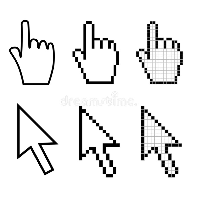 Hand and arrow cursors. Set of hand and arrow mouse cursors