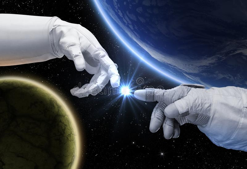 Hand of astronaut and robot. Contact with other civilizations royalty free stock photo