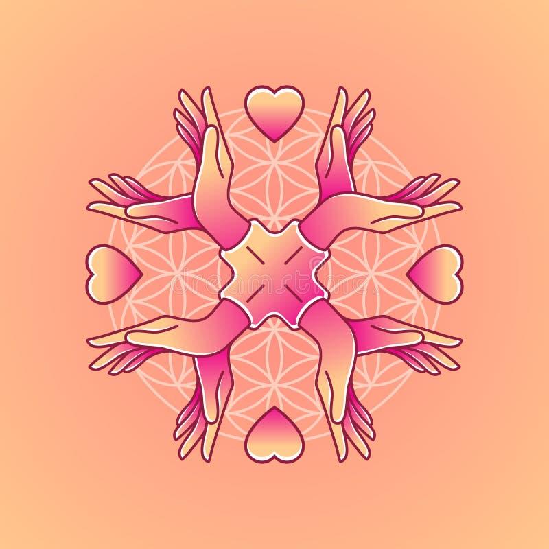 Hand auf dem Hintergrund einer Blume des Lebens lizenzfreie abbildung