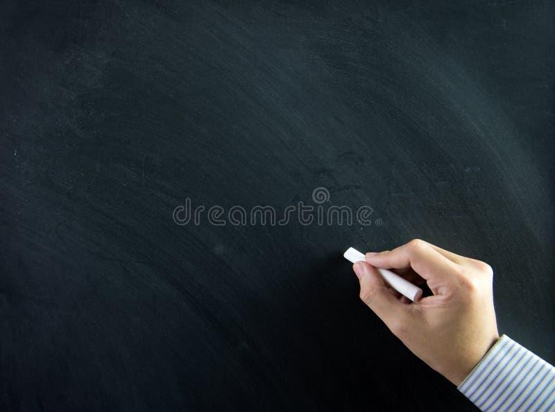 Hand auf Tafel lizenzfreies stockbild