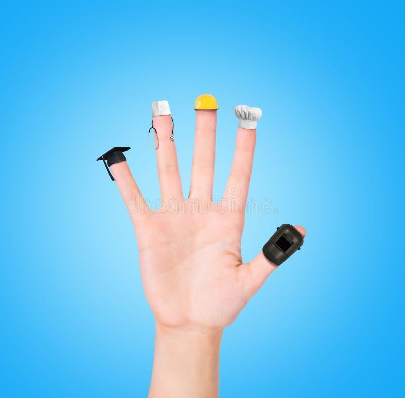 Hand auf verschiedenen Berufen jedes Fingers, Berufswahlwahlen lizenzfreies stockfoto