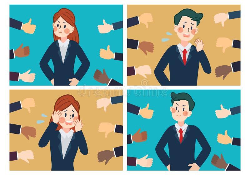 Hand av affärsmannen, många händer med tummar upp royaltyfri illustrationer