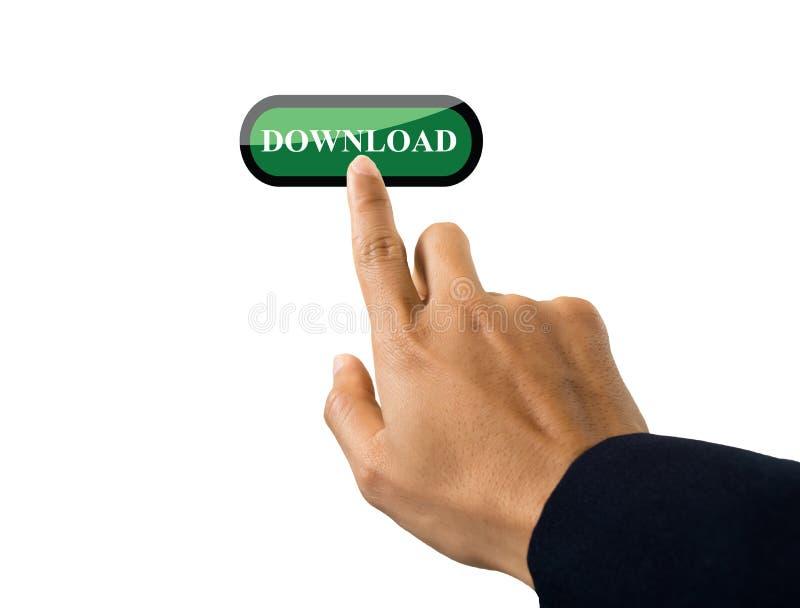 Hand av affärsmannen som skjuter en knapp på en pekskärmmanöverenhet royaltyfri bild