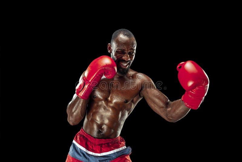 Hand av boxaren över svart bakgrund Styrka-, attack- och rörelsebegrepp royaltyfria bilder