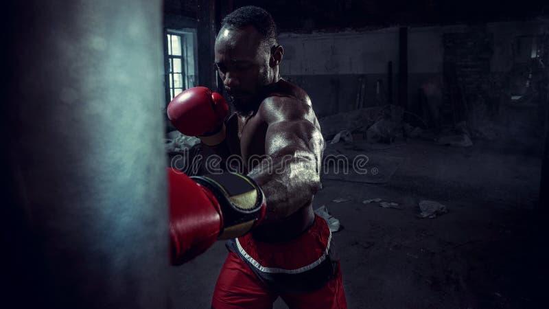 Hand av boxaren över svart bakgrund Styrka-, attack- och rörelsebegrepp royaltyfri bild