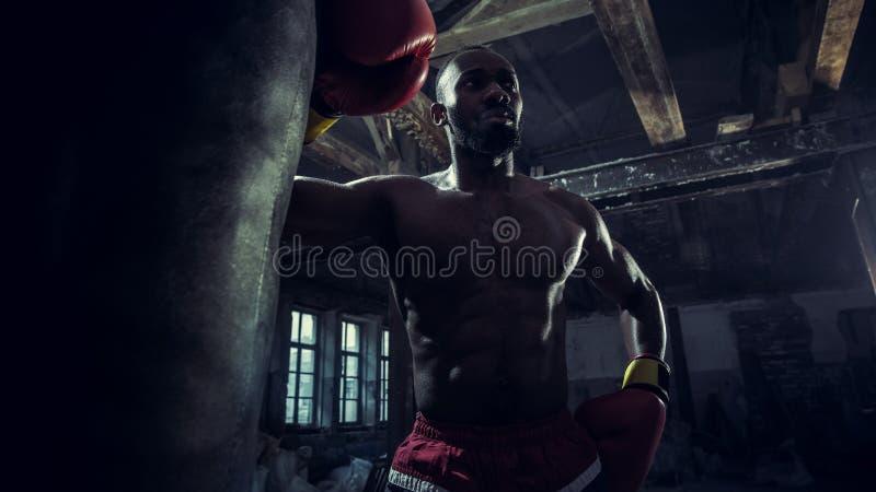 Hand av boxaren över svart bakgrund Styrka-, attack- och rörelsebegrepp royaltyfri fotografi