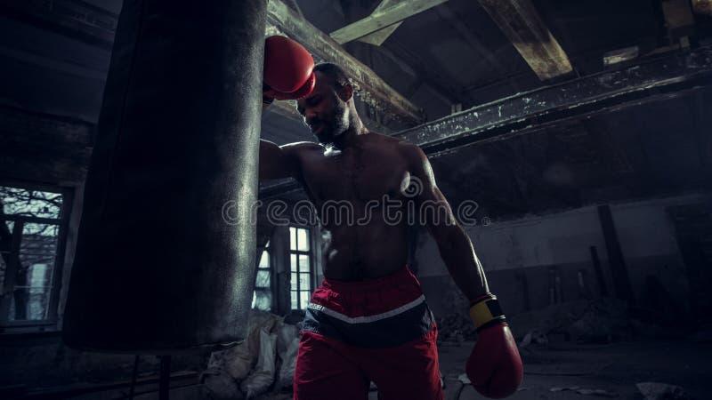 Hand av boxaren över svart bakgrund Styrka-, attack- och rörelsebegrepp arkivfoto