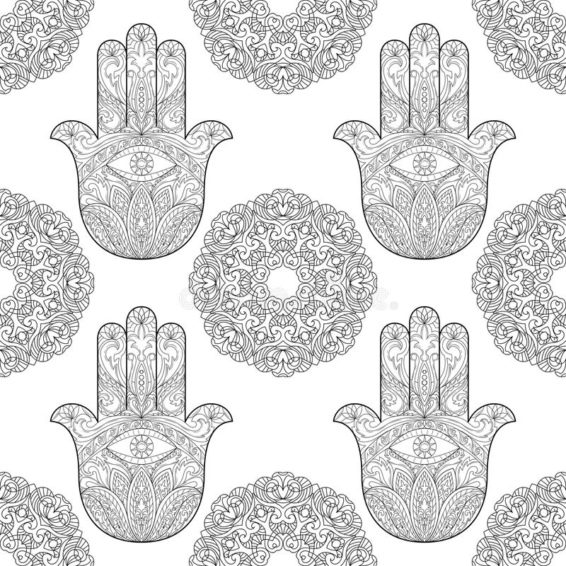Hand av Fatima med Mandala Seamless Pattern vektor illustrationer