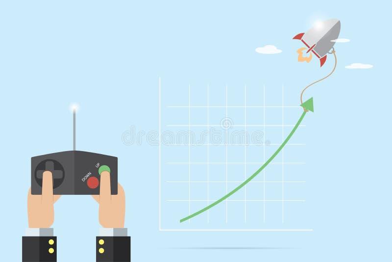 Hand av hållande fjärrkontroll för affärsman som kontrollerar upp raket för handtaggräsplanpil, affärsidé stock illustrationer