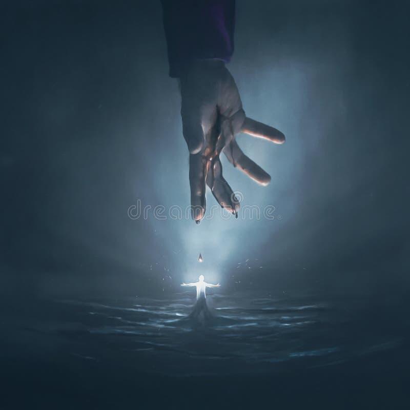 Hand av Jesus och glödande man royaltyfria bilder