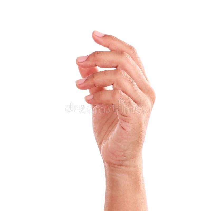 Hand av kvinnan som isoleras på vit bakgrund arkivfoton