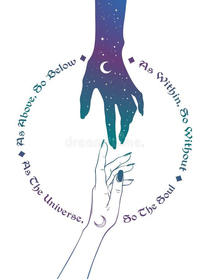 Hand av universum som ut når till den mänskliga handen Inskriften är en sentens i hermeticism och sakral geometri Som över, så un royaltyfri illustrationer