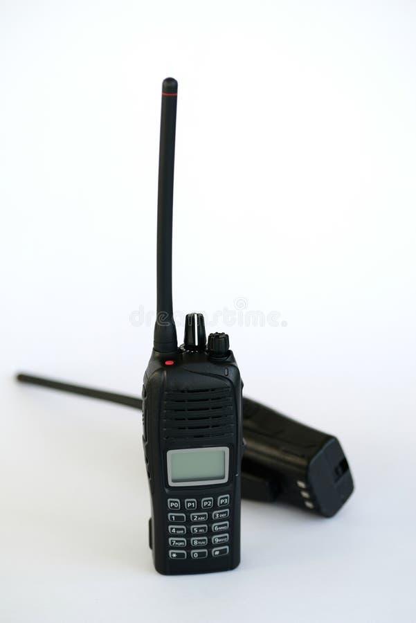 Hand-bärbara radior i vit bakgrund fotografering för bildbyråer