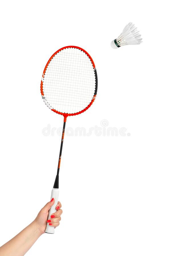 Hand with badminton racket and feather shuttlecock. Isolated on white background royalty free stock photo
