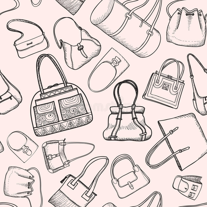 Hand bags fashion seamless sketch pattern. royalty free illustration