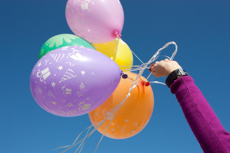 Download Hand with a balloons stock image. Image of float, green - 21672515