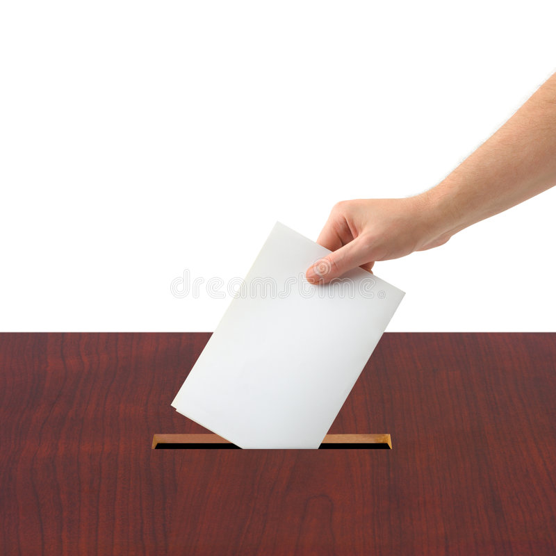 Hand with ballot and box royalty free stock images